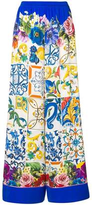 Dolce & Gabbana Majolica print palazzo trousers