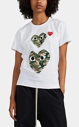Comme des Garcons Women's Camouflage-Heart Cotton T-Shirt - White