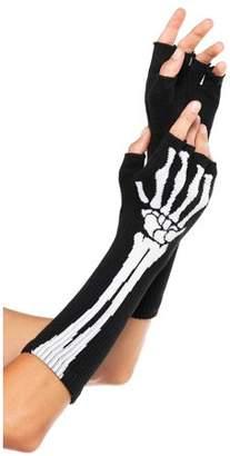 Leg Avenue Women's Skeleton Fingerless Gloves, Black, One Size