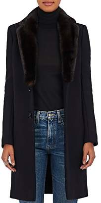 Barneys New York Women's Mink Fur & Felted Wool-Blend Coat - Black