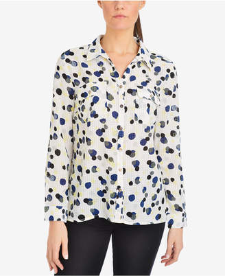 NY Collection Printed Utility Shirt