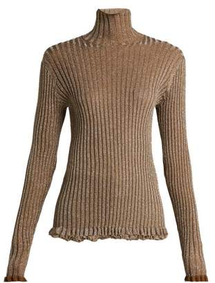 Chloé Ruffle Trimmed Metallic Knit Silk Blend Sweater - Womens - Gold