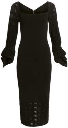 Roland Mouret Boynton Puff-Sleeve Midi Dress