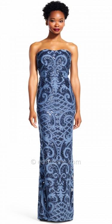 Adrianna PapellAdrianna Papell Strapless Sequin Damask Column Evening Dress