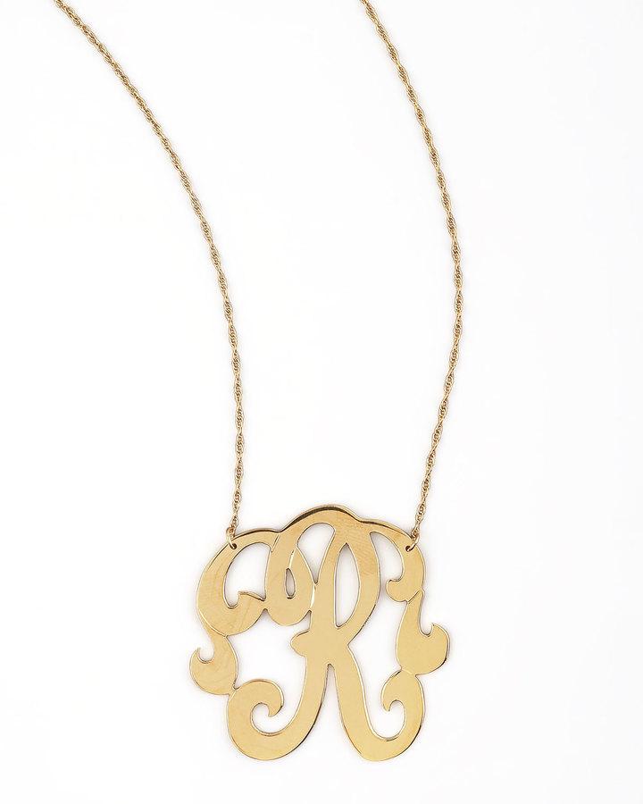 Jennifer Zeuner Jewelry Swirly Initial Necklace, R