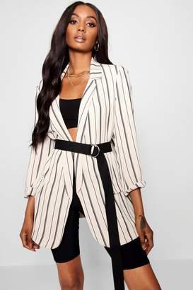 boohoo Oversized Tailored Stripe Pocket Blazer