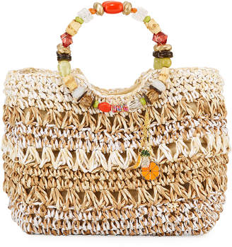 Capelli of New York Straworld Fruit Charms Crochet Straw Tote Bag, Natural