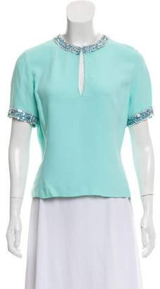 Miu Miu Embellished Short Sleeve Top