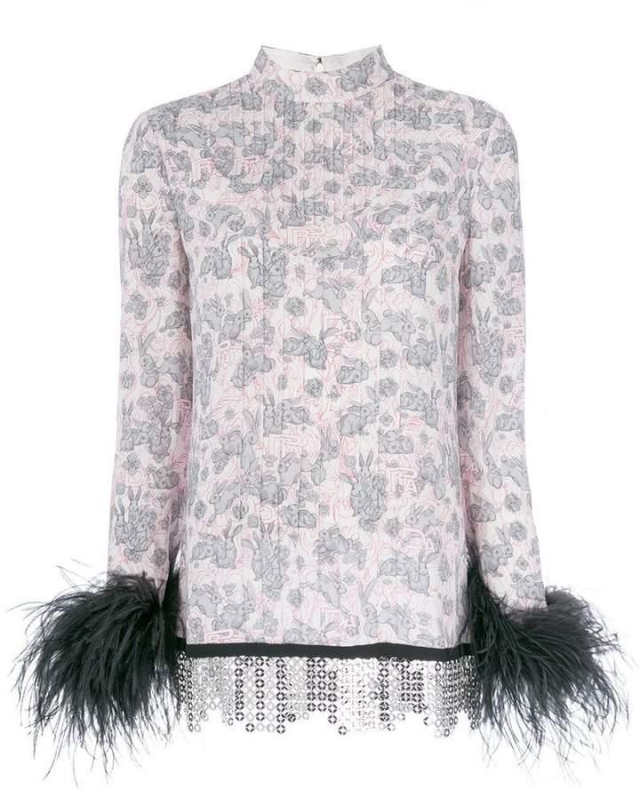 Prada rabbit print feather trim blouse