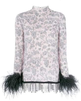Prada rabbit print feather-trim blouse