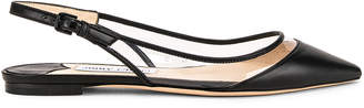 Jimmy Choo Erin Leather Plexi Flat in Black & PVC | FWRD