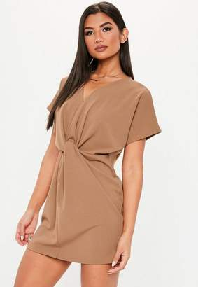Missguided Tan Knot Front Short Sleeve Shift Dress