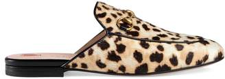 Gucci Princetown leopard calf hair slipper