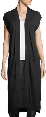 Matty M Long Sweater Vest w/Pockets, Black