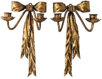One Kings Lane Vintage Italian Gilt Ribbon Sconces - Set of 2 - Tobe Reed