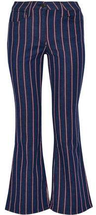 Cropped Striped Mid-Rise Flared Jeans