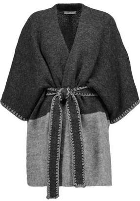 Alice + Olivia Rikkie Tie-Front Two-Tone Knitted Cardigan