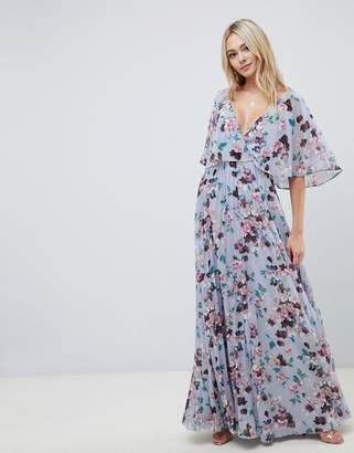 Asos DESIGN flutter sleeve maxi dress with pleat skirt in floral print