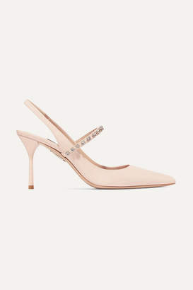 Miu Miu Crystal-embellished Patent-leather Slingback Pumps - Baby pink