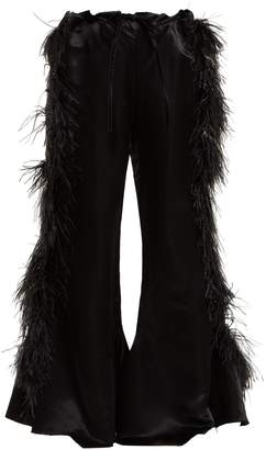 Marques Almeida MARQUES'ALMEIDA Feather-embellished kick-flare satin trousers
