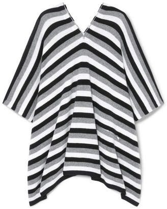 Sonia Rykiel Zip-embellished Striped Cashmere Poncho - Gray