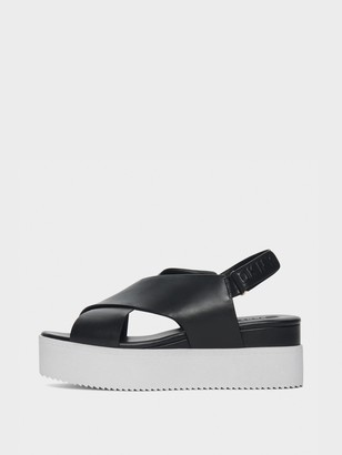 DKNY Carina Black Leather Platform Sandal