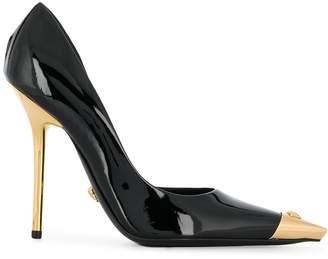 Versace Aurene gold-tone tip pumps