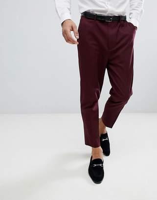 Asos Design DESIGN tapered smart pants in burgundy