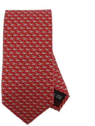 Salvatore Ferragamo Tie 8 Cm Tie In Pure Silk With All-over Bird Pattern
