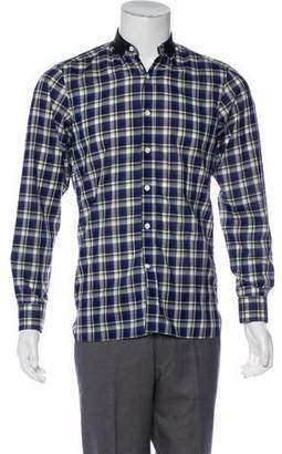 Lanvin Satin-Trimmed Plaid Shirt