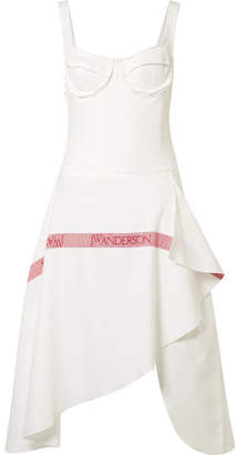 J.W.Anderson Tea Towel Asymmetric Woven Cotton-jersey And Linen Dress - White
