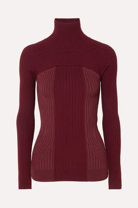 Thierry Mugler Ribbed Two-tone Wool-blend Turtleneck Sweater - Burgundy