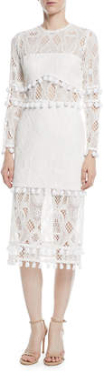 Alexis Callie Long-Sleeve Crochet-Lace Sheath Dress w/ Pompom Trim