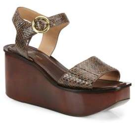 Michael Kors Collection Bridgette Snakeskin Wedge Platform Sandals