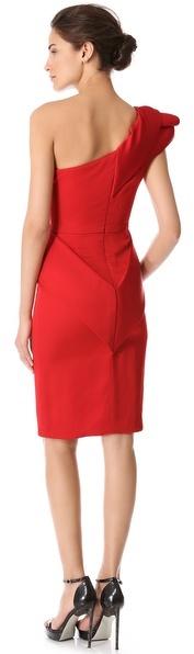 Marchesa Peplum Dress with Roses
