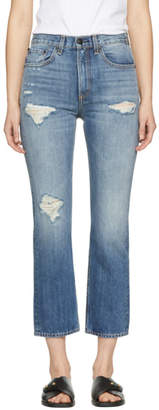 Rag & Bone Blue Ankle Straight Jeans