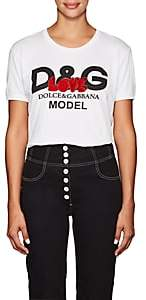 "Dolce & Gabbana Women's ""Love"" Embellished Logo Cotton T-Shirt - White"