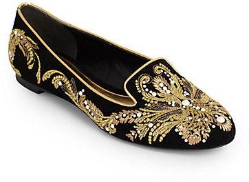 Alexander McQueen Embroidered Velvet Smoking Slippers