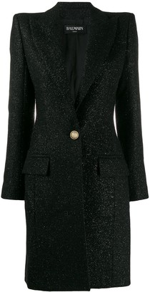 Balmain single breasted fitted long coat