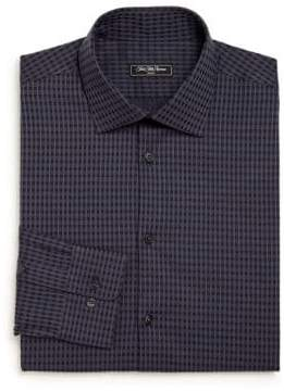 Saks Fifth Avenue Modern Regular-Fit Checked Cotton Dress Shirt