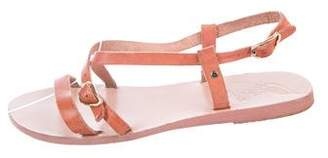 Ancient Greek Sandals Leather Ankle Strap Sandals