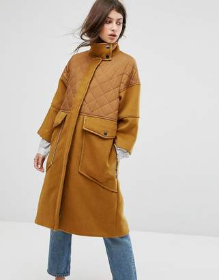 Max & Co. Max&Co Desideri Quilted Panel Coat