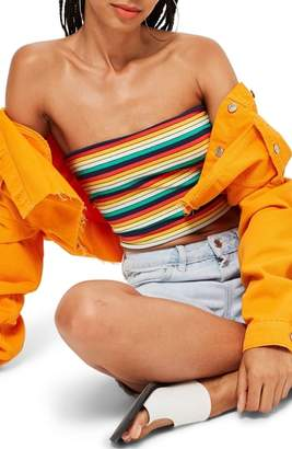 Topshop Rainbow Stripe Bandeau Top