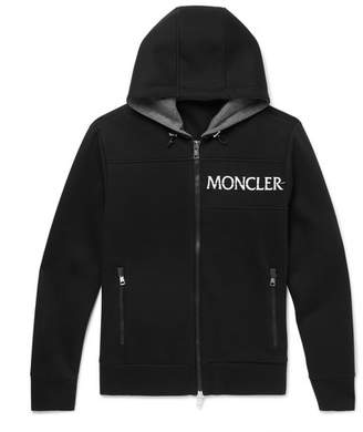 Moncler Embroidered Cotton-Jersey Zip-Up Hoodie