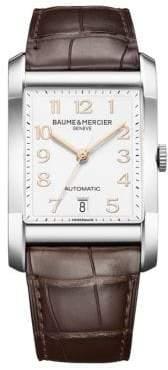 Baume & Mercier Hampton Stainless Steel& Brown Automatic Strap Watch