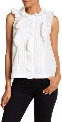 Rebecca Taylor Sleeveless Front Ruffle Tank Top