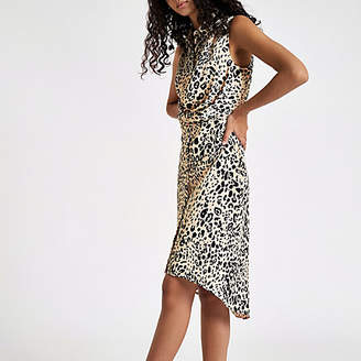 River Island White leopard print wrap shirt dress