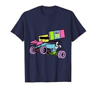 Race Car Shirt Boys Girls Bunny Driving Sprint Car Kids Gift