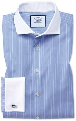 Charles Tyrwhitt Slim Fit Spread Collar Non-Iron Winchester Blue and White Cotton Dress Shirt Single Cuff Size 16.5/34