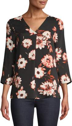 Lord & Taylor Petite Three-Quarter-Sleeve Floral Blouse